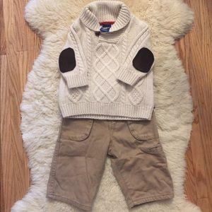 OshKosh Ivory Sweater with Chino pants 3-6 months